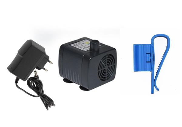 Mini Wasserpumpe + Trafo und Schlauchhalter - 12V, 200l/h