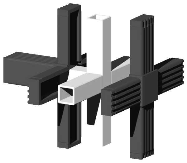 Alu-Stecksystem - Kreuz mit Abgang - 25mm