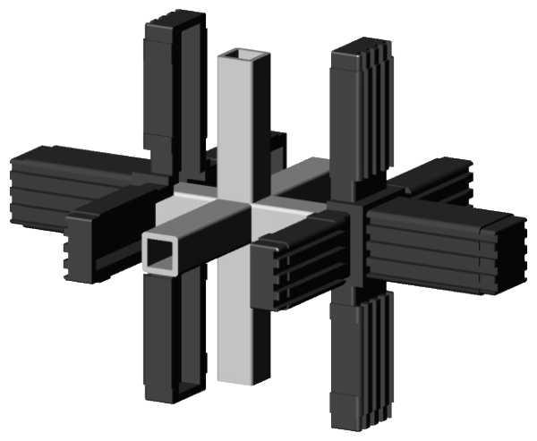 alu stecksystem kreuz mit 2 abg ngen f r aluminium rohr aqua light ihr spezialist f r. Black Bedroom Furniture Sets. Home Design Ideas