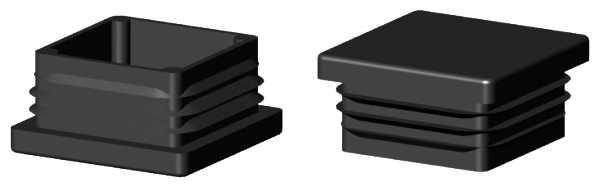 Alu-Stecksystem - Kunststoff-Endstopfen schwarz für Rohr 25x25mm