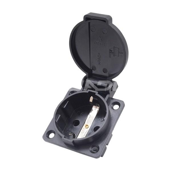 Schukostecker Einbaudose 16A / 230V, IP54, schwarz, mit Kindersicherung