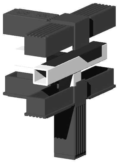 Connector T plus 1 - 25mm for aluminium rod